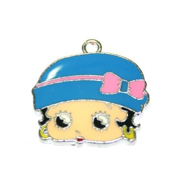 1pce x 23*19mm Betty face with blue hat and pink bow enamel charms - S.D03 - CHE1297